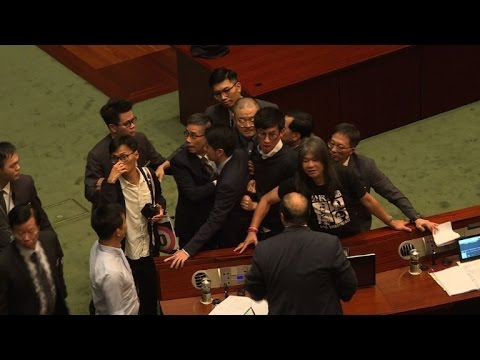 Pro-independence lawmakers brawl in Hong Kong parliament